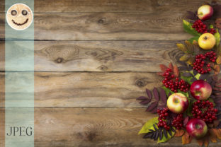 Rustic Fall Background with Red Leaves Graphic By TasiPas