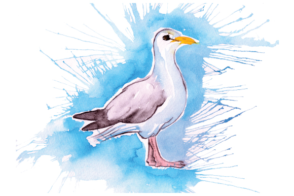 Download Free Seagull In Paint Splatter Watercolor Style Svg Cut File By for Cricut Explore, Silhouette and other cutting machines.
