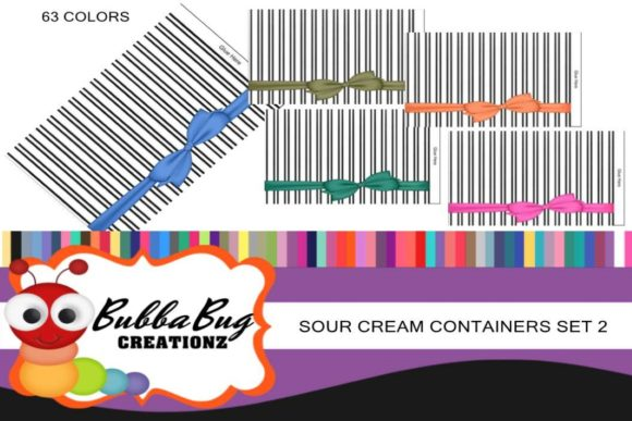 Sour Cream Container Set 2 Graphic Crafts By BUBBABUG