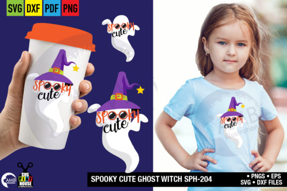 Spooky Cute Witch Ghost Graphic Crafts By AMBillustrations