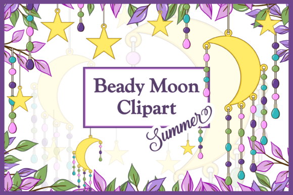 Print on Demand: Summer Beady Moon with Leaves & Branches Gráfico Ilustraciones Por Lilyat Lane