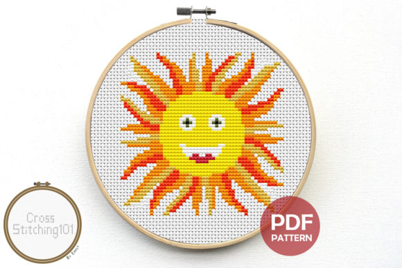 Download Free Sun Modern Cross Stitch Pattern Graphic By Crossstitching101 for Cricut Explore, Silhouette and other cutting machines.