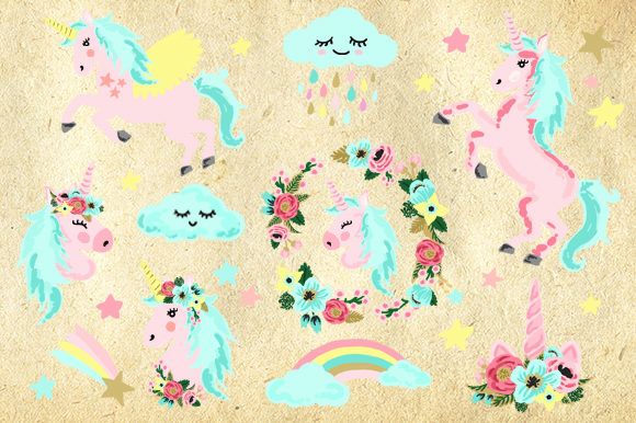 Unicorn Cute Pink Rainbow Clip Art Graphic By Kabankova