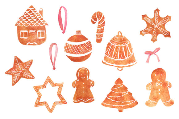 Download Free Watercolour Christmas Gingerbread Graphic By Primafox Design Creative Fabrica for Cricut Explore, Silhouette and other cutting machines.