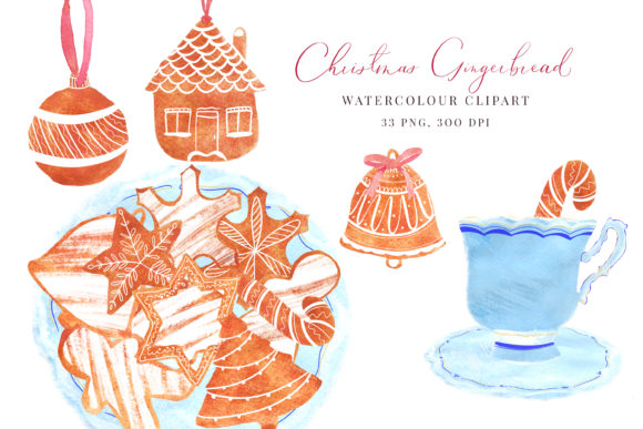Print on Demand: Watercolour Christmas Gingerbread Graphic Illustrations By Primafox Design