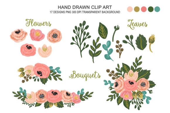 Wedding Floral Blush Pink Flower Clipart Graphic Illustrations By kabankova
