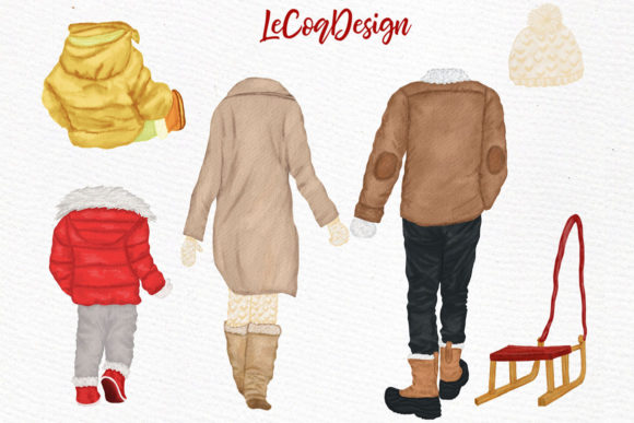 Winter Family Christmas Car Clipart Graphic Illustrations By LeCoqDesign - Image 2