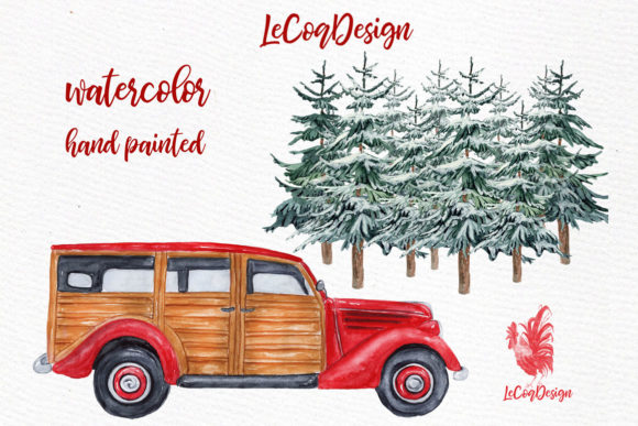 Winter Family Christmas Car Clipart Graphic Illustrations By LeCoqDesign - Image 4