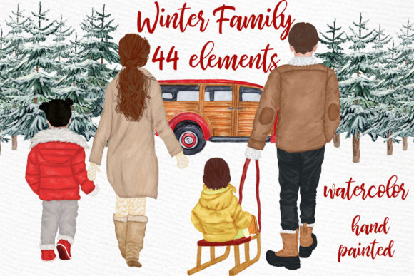 Winter Family Christmas Car Clipart Gráfico Ilustraciones Por LeCoqDesign