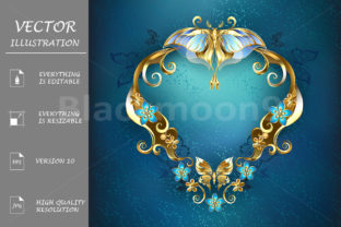 Banner with Gold Butterflies Graphic By Blackmoon9