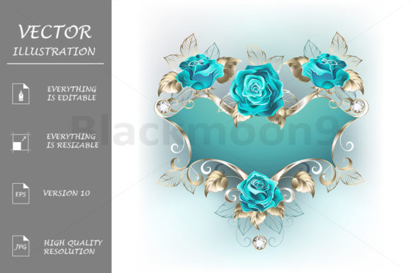 Banner with Turquoise Roses Graphic Illustrations By Blackmoon9