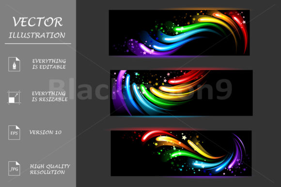 Banner with Rainbow Pattern Graphic Graphic Templates By Blackmoon9