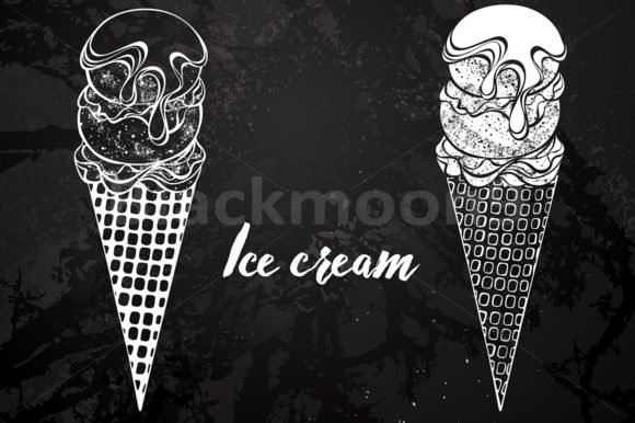 Download Free Contour Ice Cream Drawing Chalk Graphic By Blackmoon9 Creative for Cricut Explore, Silhouette and other cutting machines.