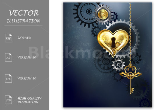 Mechanical Heart with Key ( Steampunk ) Graphic Illustrations By Blackmoon9