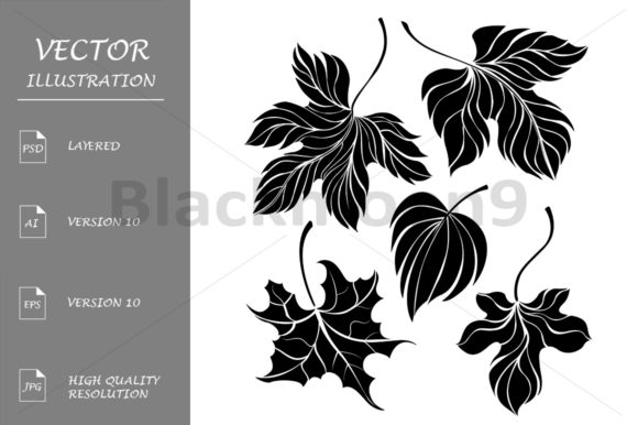 Download Free Set Of Leaves Silhouette Graphic By Blackmoon9 Creative Fabrica for Cricut Explore, Silhouette and other cutting machines.