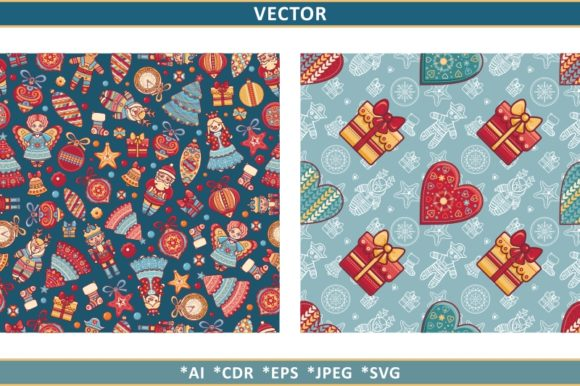 Print on Demand: Christmas Clipart. Christmas Seamless Graphic Patterns By zoyali
