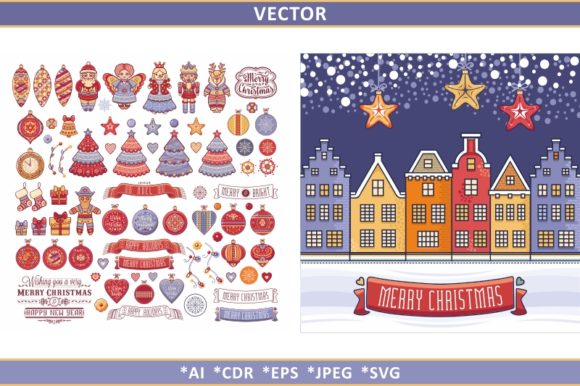 Download Free Christmas Clipart Christmas Seamless Graphic By Zoyali for Cricut Explore, Silhouette and other cutting machines.