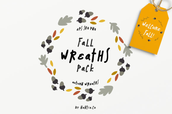 Print on Demand: 30 Fall Vector Wreaths Pack Grafik Illustrationen von nantia