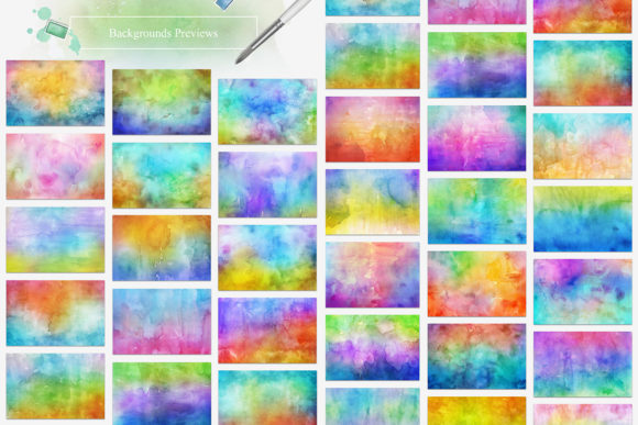 30 Spring Watercolor Backgrounds Graphic Textures By NassyArt - Image 2