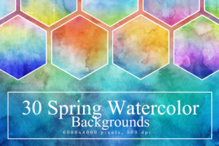 30 Spring Watercolor Backgrounds Graphic By NassyArt