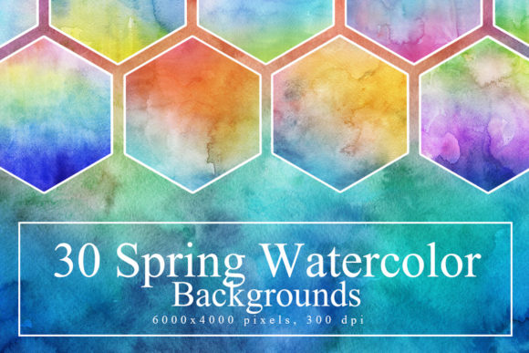 30 Spring Watercolor Backgrounds Graphic Textures By NassyArt