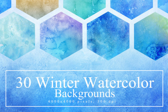 30 Winter Watercolor Backgrounds Graphic Textures By NassyArt