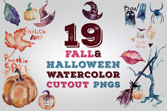 Download Free 19 Fall And Halloween Watercolor Pngs Grafico Por Waterflowart for Cricut Explore, Silhouette and other cutting machines.