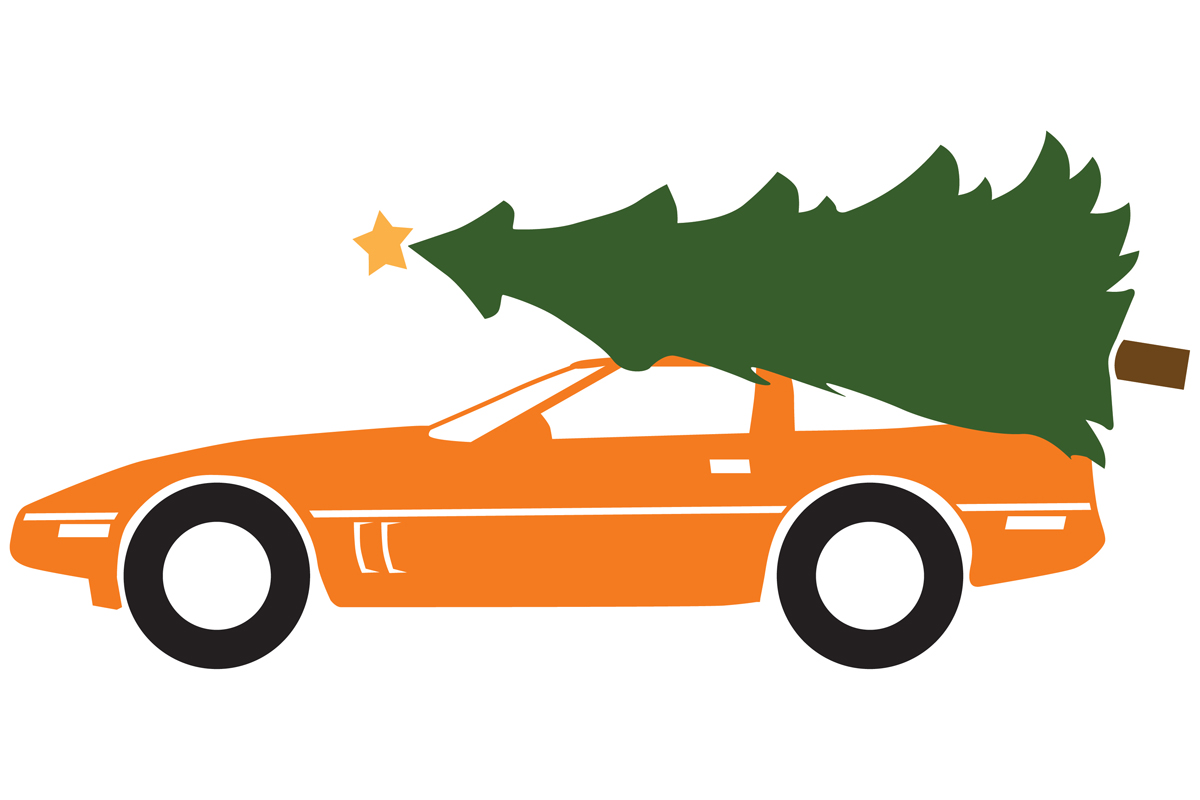 Download Free 1984 Sportscar With A Christmas Tree Graphic By Idrawsilhouettes for Cricut Explore, Silhouette and other cutting machines.