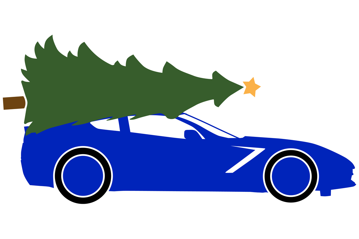 Download Free 2014 Sportscar With A Christmas Tree Graphic By Idrawsilhouettes for Cricut Explore, Silhouette and other cutting machines.