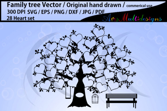 Print on Demand: 28 Hearts Family Tree Clipart Vector Graphic Illustrations By Arcs Multidesigns