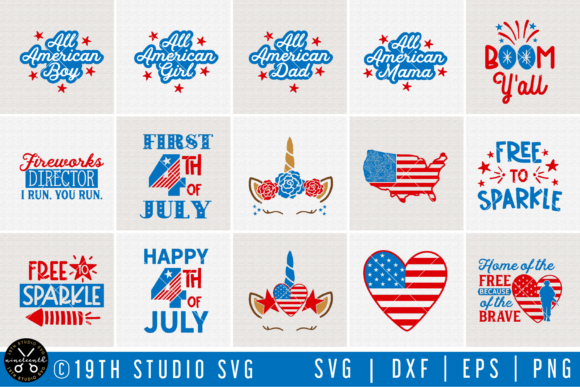 4th Of July Svg Bundle Graphic By 19thstudio Com Creative Fabrica