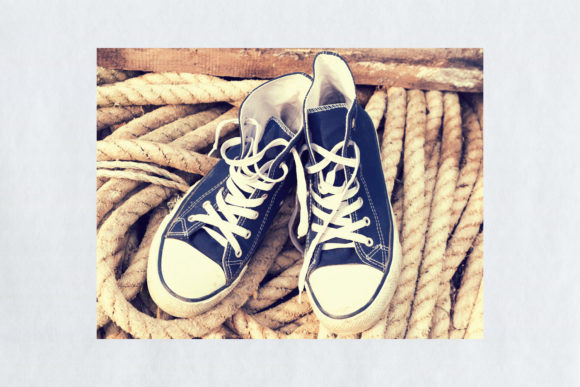 A Pair of Old Durty Blue White Sneakers Graphic By fleurartmariia Image 2