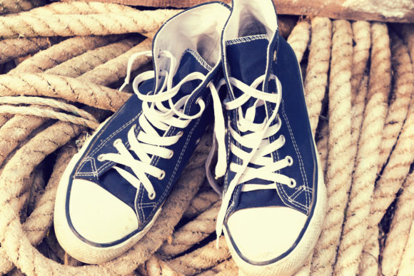 A Pair of Old Durty Blue White Sneakers Graphic By fleurartmariia Image 1