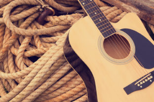 Acoustic Classic Guitar on a Rough Rope Graphic By fleurartmariia