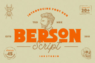 Download Free Berson Font By 160 Studio Creative Fabrica for Cricut Explore, Silhouette and other cutting machines.