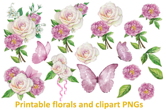 Download Free Blossoms And Butterflies Clipart Bundle Graphic By The Paper for Cricut Explore, Silhouette and other cutting machines.