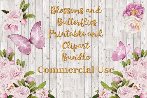 Print on Demand: Blossoms and Butterflies Clipart Bundle Graphic Illustrations By The Paper Princess