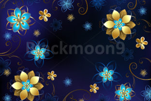 Blue Background with Flowers Graphic By Blackmoon9