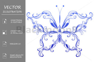Blue Patterned Butterfly Graphic By Blackmoon9