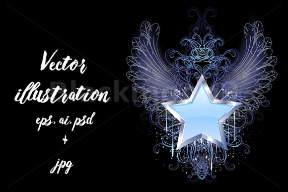 Download Free Blue Star On A Dark Background Graphic By Blackmoon9 Creative for Cricut Explore, Silhouette and other cutting machines.