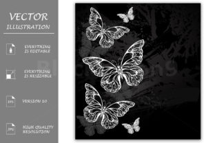 Border with Chalk Butterflies Graphic By Blackmoon9