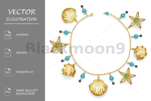 Bracelet with Seashells Graphic By Blackmoon9