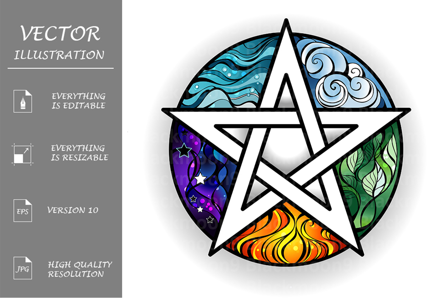 Download Free Bright Pentagram Graphic By Blackmoon9 Creative Fabrica for Cricut Explore, Silhouette and other cutting machines.