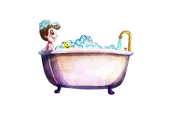 Child Taking Bath with  Yellow Duck- Watercolor Style Badezimmer Plotterdatei von Creative Fabrica Crafts