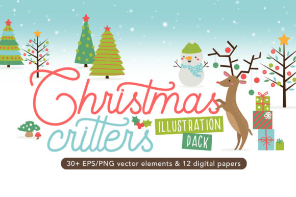Print on Demand: Christmas Critters Pack Graphic Illustrations By Reg Silva Art Shop