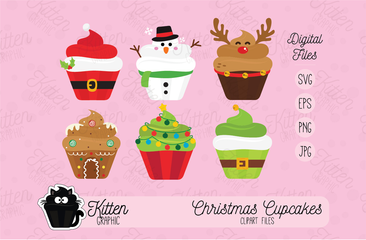 Download Free Christmas Cupcakes Set Graphic By Kittengraphicstudio Creative for Cricut Explore, Silhouette and other cutting machines.