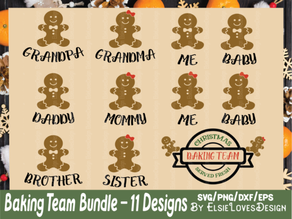 Christmas Gingerbread Baking Family Graphic Crafts By ElsieLovesDesign