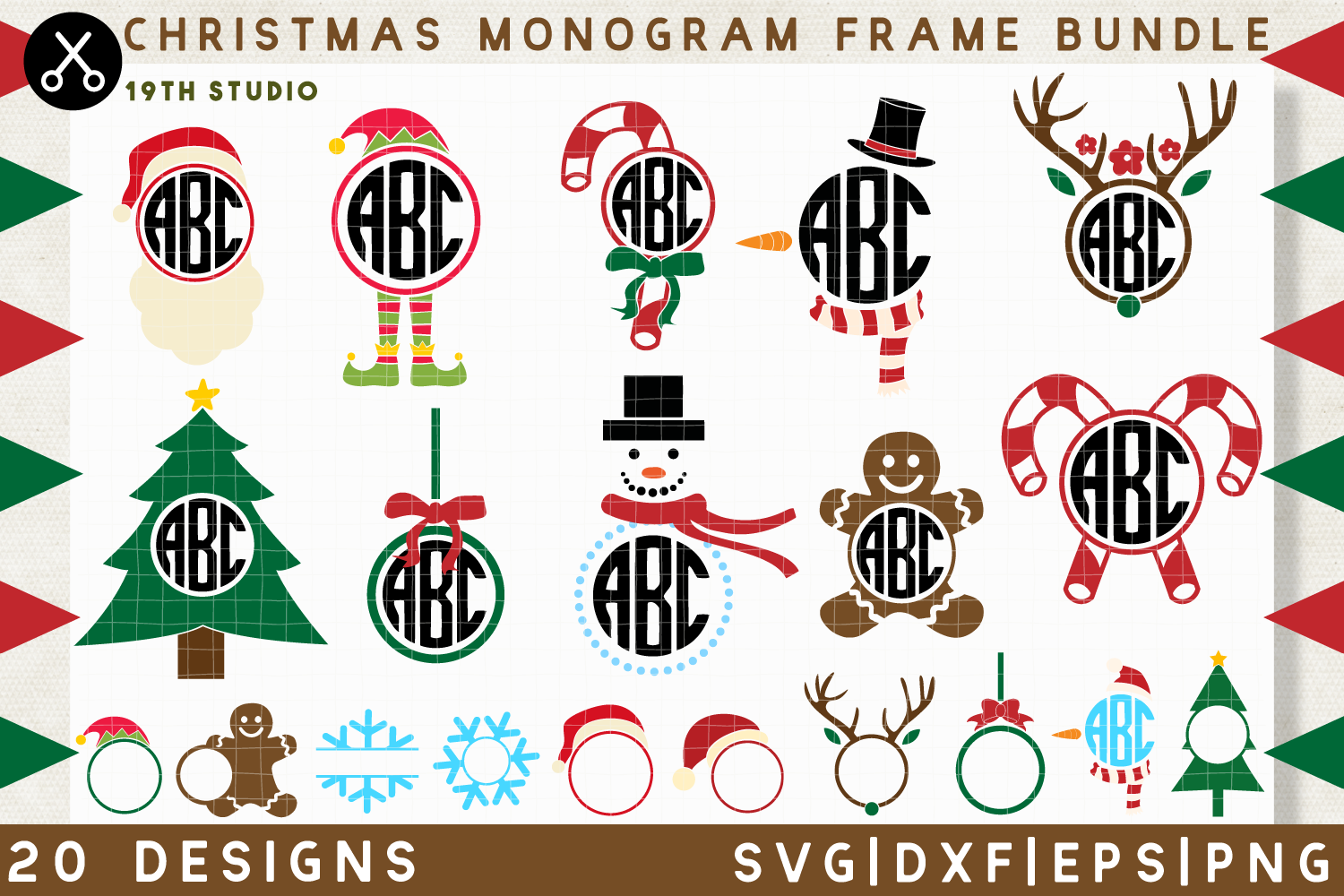 Download Free Christmas Monogram Frame Svg Bundle Graphic By 19th Studio Svg for Cricut Explore, Silhouette and other cutting machines.