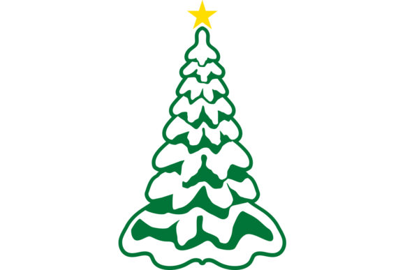 Download Free Christmas Tree With Snow And Gold Star Graphic By for Cricut Explore, Silhouette and other cutting machines.