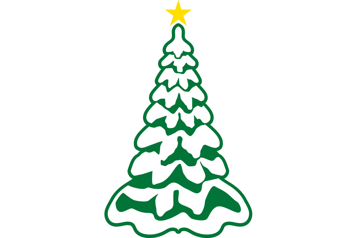 Christmas Tree With Snow And Gold Star Graphic By